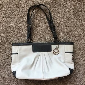Coach Gray and White Tote Bag